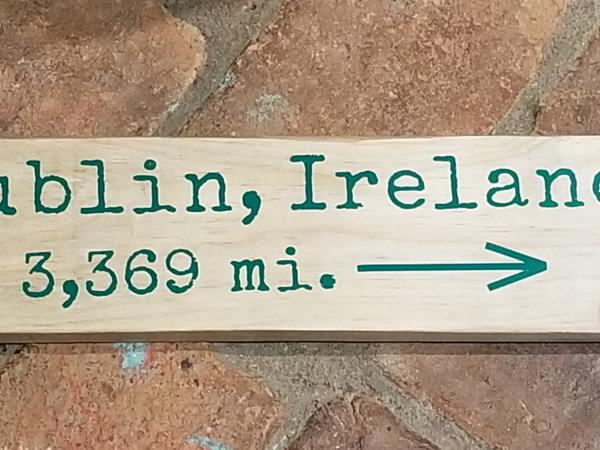 Dublin, Ireland mileage sign
