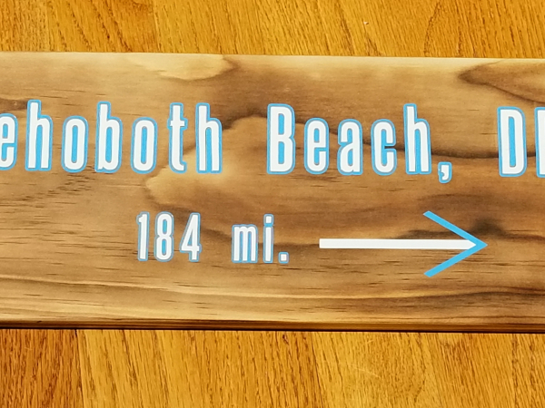 Rehoboth Beach DE mileage sign