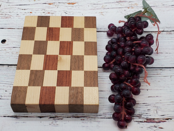 Handmade maple, walnut, and saepele cheeseboard alternate view