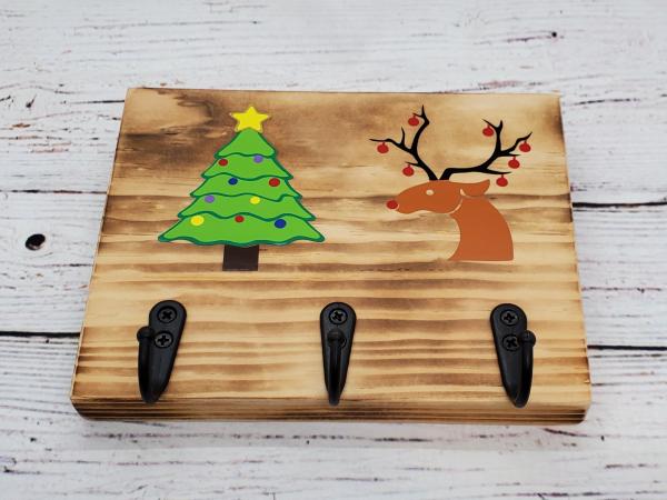 Christmas Tree, Reindeer Key/Leash/Mask/Etc. Holder alternate view