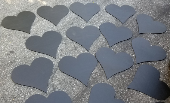 Custom chalkboard hearts created for a customer