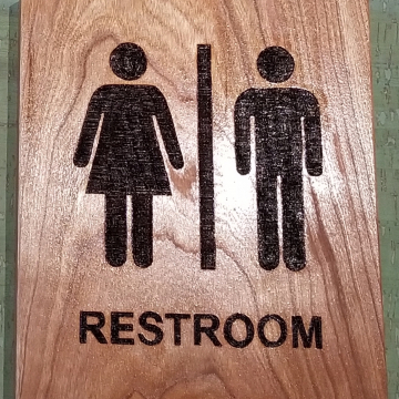 Custom restroom sign wood burned on Cherry