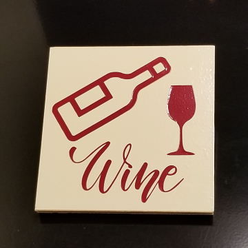Wine Bottle and Glass vinyl coaster