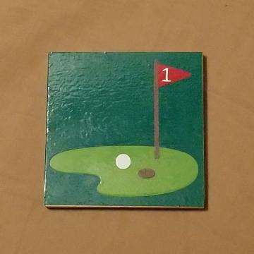 Golf vinyl coaster