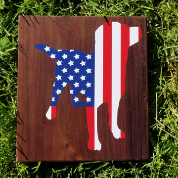 American Flag Dog sign