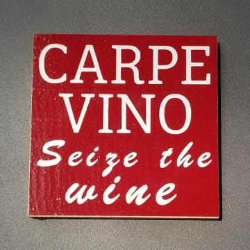 CARPE VINO vinyl coaster