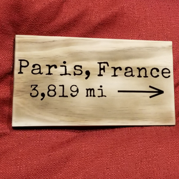 Paris, France mileage sign
